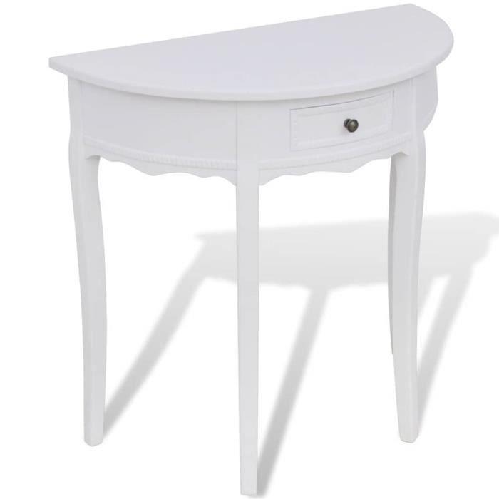 Table console avec tiroir Demi-ronde Blanc