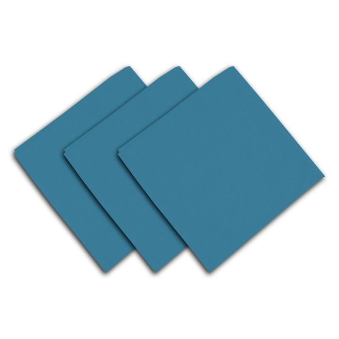 SOLEIL D'OCRE Lot de 3 serviettes de table Panama - 45x45 cm - Bleu