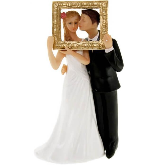 R/SUJ4952- 1 Figurine mariage couple de mariés avec cadre photo. 13cm