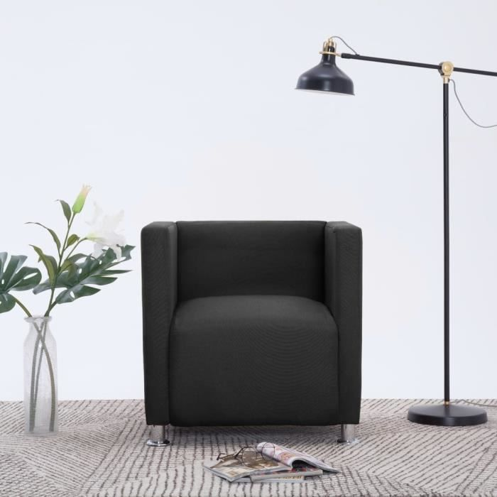 Fauteuil cube Noir Tissu-LEF