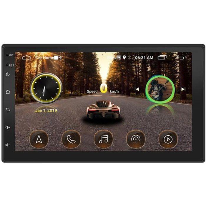 Autoradio Bluetooth, Auto Radio Double Din 7 Pouces Ecran Tactile- GPS Navigation- MP5 Radio Lecteur- Caméra de Recul -Multimédia