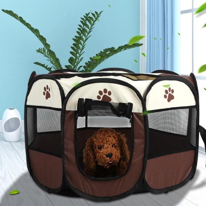 Tente pour animaux de compagnie pliable portatif en Tissu Oxford Cage d'exercice et de jeu pour chiens chats - café