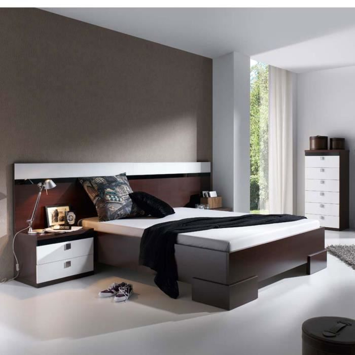 meubles chambre coucher design lilou atylia mati re m lamine couleurs weng blanc achat. Black Bedroom Furniture Sets. Home Design Ideas