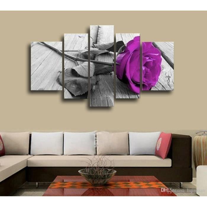 5 pièces non encadrées violet rose noir fond blanc art mur moderne peinture  toile imprimé pour salon maison décor