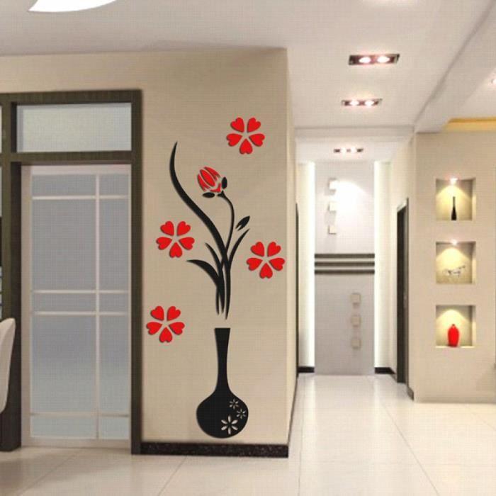 Modèle: Round vase - 3d Plum Vase Stickers Muraux Maison Decoration  Creative Stickers Muraux Salon D\'Entrée Peinture Fleurs Pour La