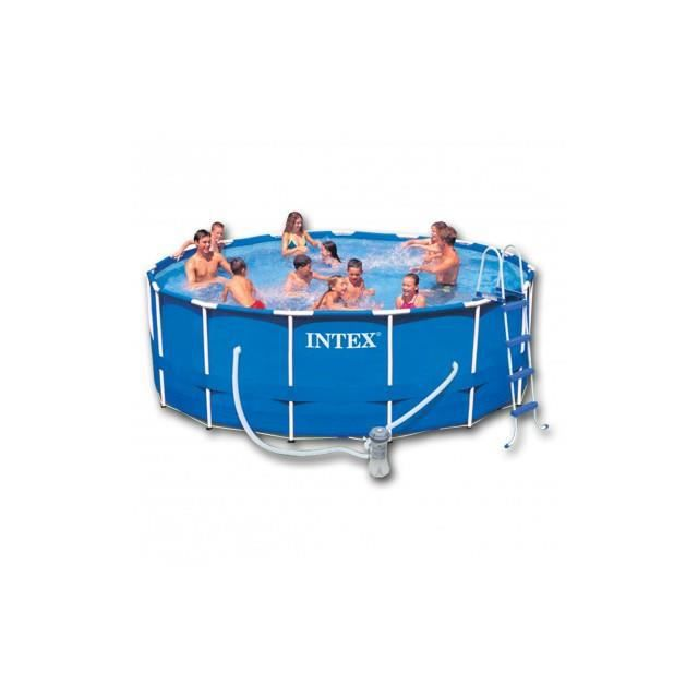 Piscine ronde intex avec escalier escabeau structure en for Piscine ronde intex