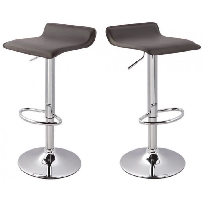 lot de 2 tabourets de bar marron 1209005 achat vente tabouret de bar cuir acier cdiscount. Black Bedroom Furniture Sets. Home Design Ideas