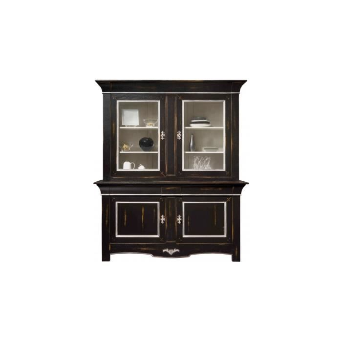 buffet bahut buffet vaisselier ch ne massif noir et. Black Bedroom Furniture Sets. Home Design Ideas