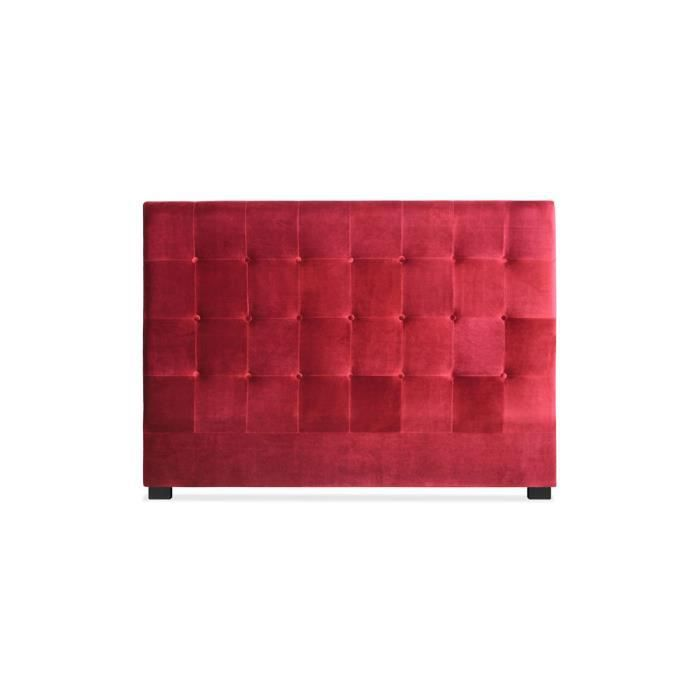 t te de lit capitonn e 90 cm velours rouge somy achat vente t te de lit t te de lit. Black Bedroom Furniture Sets. Home Design Ideas