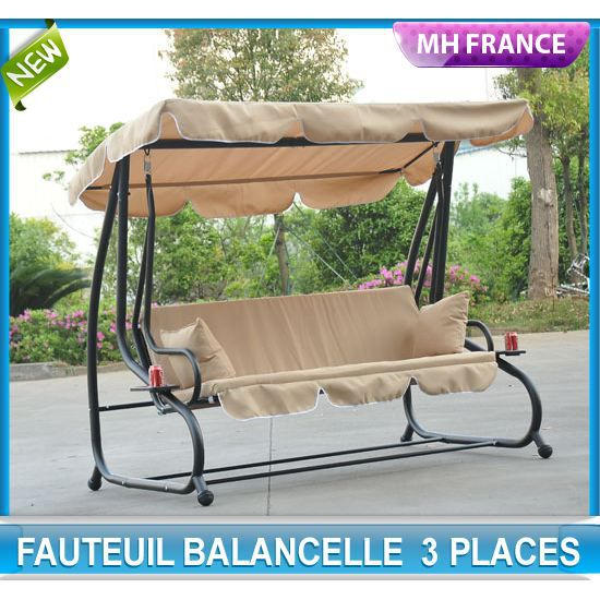 balancelle convertible balancoire hamac de jardin en acier trois places 95 achat vente. Black Bedroom Furniture Sets. Home Design Ideas