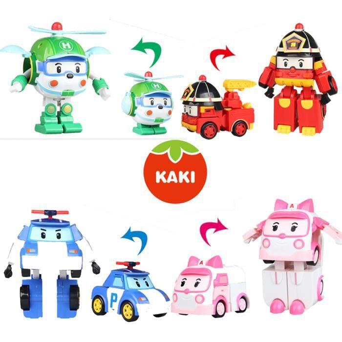 4 Pcs Robocar Poli Robot de transformation voiture Jouets Corée du Sud Thomas