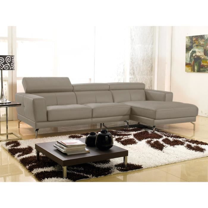 canap d 39 angle gauche cuir haut de gamme gris oslo achat vente canap sofa divan cuir. Black Bedroom Furniture Sets. Home Design Ideas