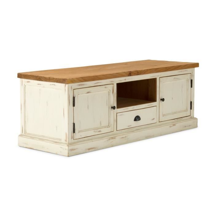 meuble tv landhaus en bois mindi laqu blanc et miel achat vente meuble tv le shabby chic. Black Bedroom Furniture Sets. Home Design Ideas