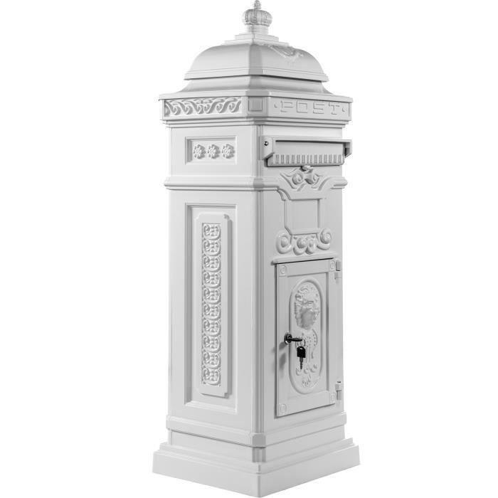 Boîte Aux Lettres Sur Pied Style Antique Anglais Aluminium Inox Hauteur 102 5 Cm Coloris Blanc Garantie 3 Ans