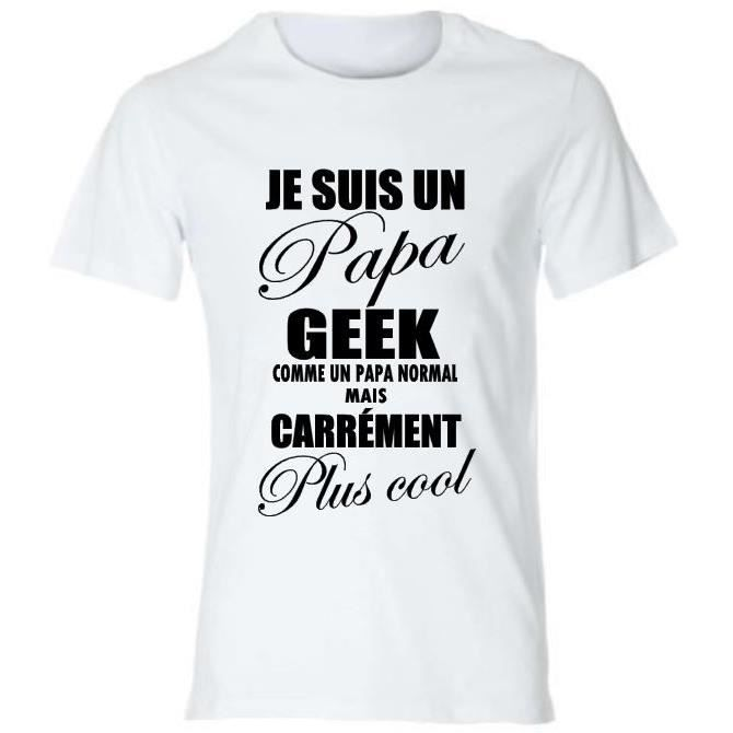 tee shirt papa geek id e cadeau anniversaire f achat vente t shirt cdiscount. Black Bedroom Furniture Sets. Home Design Ideas