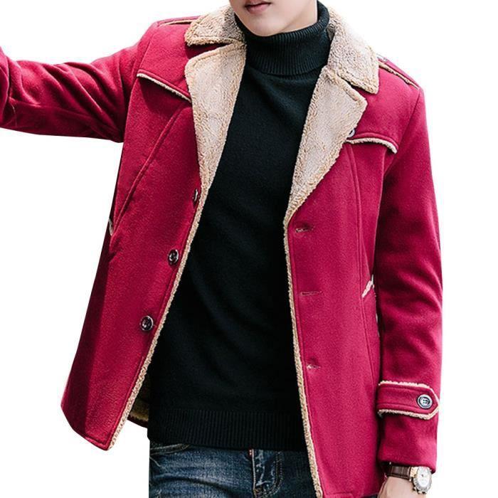 Hommes Laine Veste Trench Coat Veste polaire doublé à boutonnage simple vareuse Chaud A9