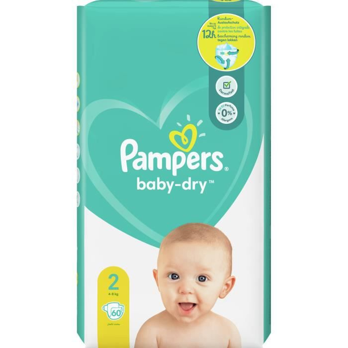 COUCHE Pampers Baby-Dry Taille 2, 60 Couches