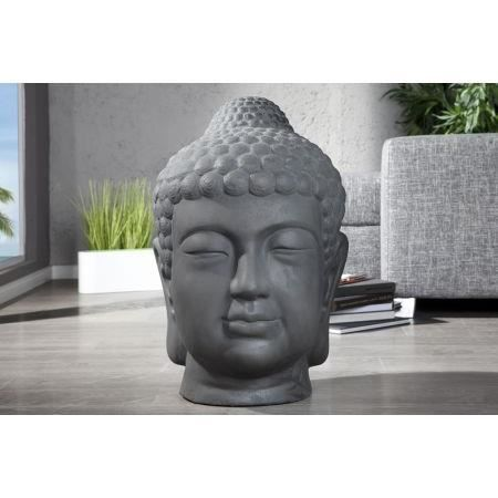 statue t te de bouddha antique gris 70 cm achat vente statue statuette ciment verre. Black Bedroom Furniture Sets. Home Design Ideas