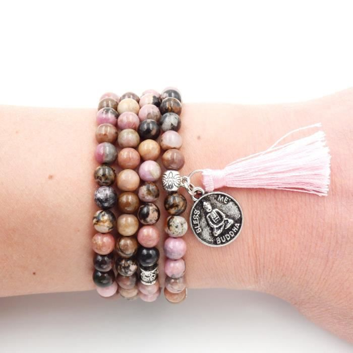 Womens Mala Beads Bracelet, Buddhist Mala Prayer Beads, Buddha Bless Me Statet Necklace UDBAE