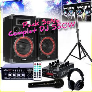 PACK SONO Pack SONO Complet DJ 550W - 2 Enceintes MAX + Ampl
