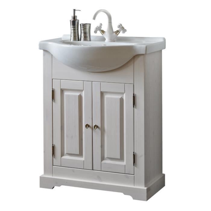 Meuble sous vasque - 65 x 32 x 81 cm - Romantic Blanc