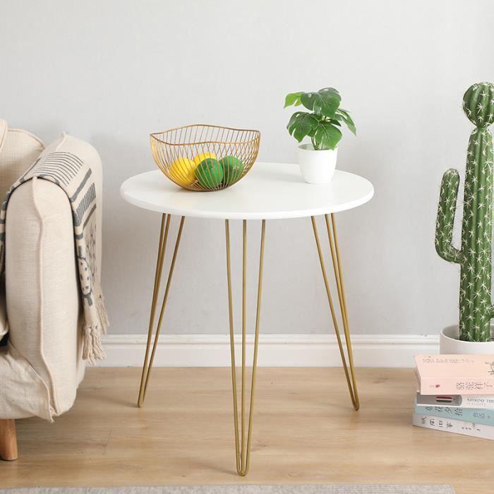 FAN Table basse ronde scandinave table appoint canapé design moderne pied en fer 50*50*60cm