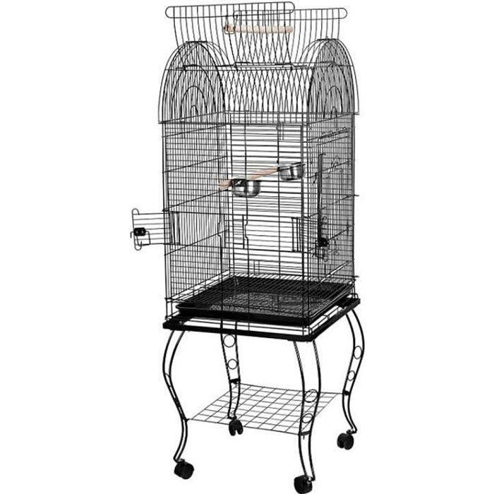YIDS Cage Oiseaux 59 x 59 x 150 cm Volière Portable Détachable sur roulettes avec Toit Ouvert en Métal