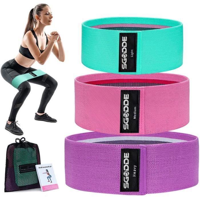 SGODDE Bande &Eacutelastique Fitness, [Lot de 3] Bande de R&eacutesistance &Eacutelastique &Eacutequipement d'Exercices pour24