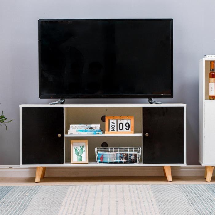 Meuble TV télé 110 cm style scandinave design vintage avec 2 niches et 2 portes décor blanc mat et gris anthracite