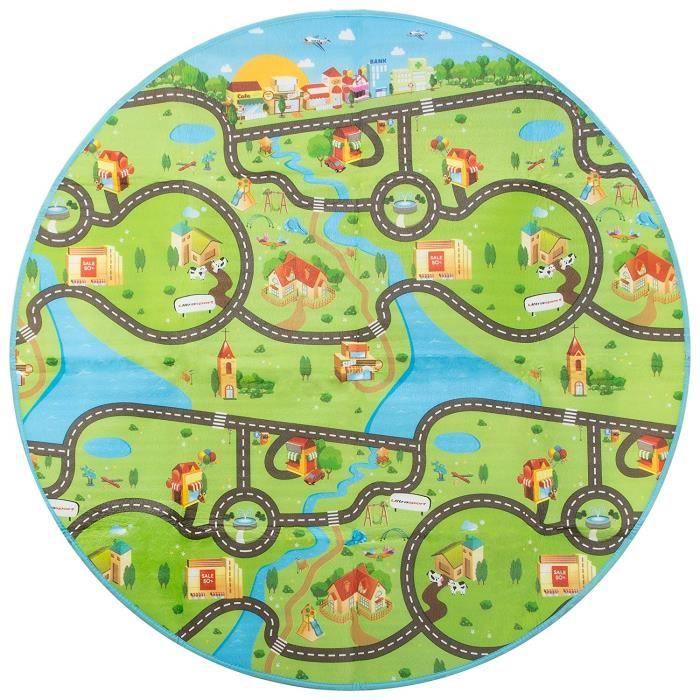Tapis de jeu pour trampoline / Tapis de jeu pour le jardin de 150 cm Ø avec des motifs des deux côtés