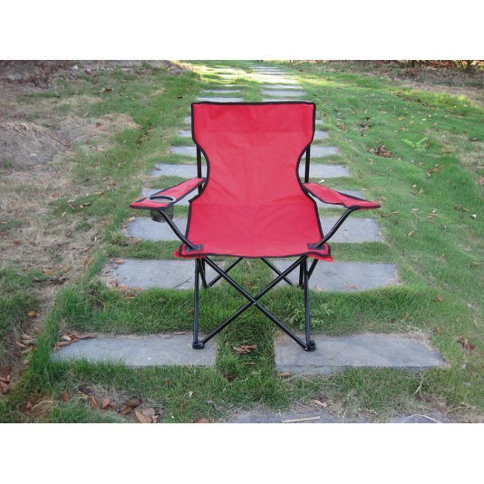 ROUGE Chaise pliante multifonctions extérieure Pratique pour pêche plage Camping jardin