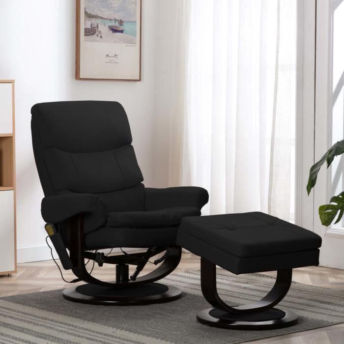 Fauteuil de massage électrique inclinable chaise Relax Massant Relaxation - Style contemporain Fauteuil TV - Noir Similicuir et