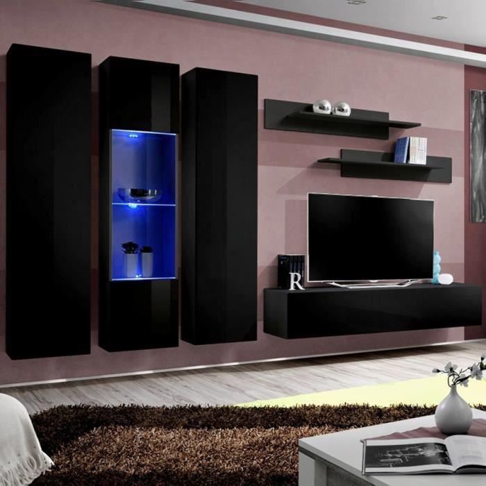 Meuble TV suspendu design noir ORLANDO Noir L 310 x P 40 x H 190 cm