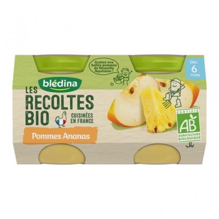 Blédina Les Récoltes Bio Pommes Ananas (dès 6 mois) par 2 pots de 130g (lot de 8)