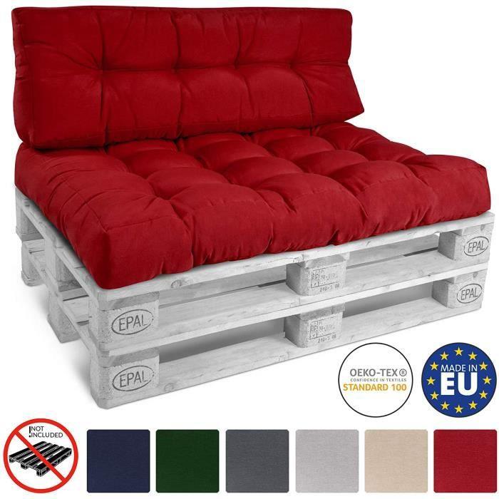 Beautissu ECO Style Coussin de dossier pour canapé en Palette 120x40x10-20 cm - Rouge - Extérieur Euro Palette