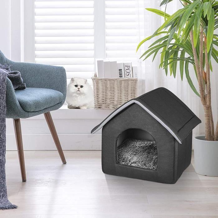 EUGAD Abri douillet Minou pour chat et chien avec Coussin Amovibles,Niche Maison en Tissu Oxford 52x46x52cm,Gris foncé