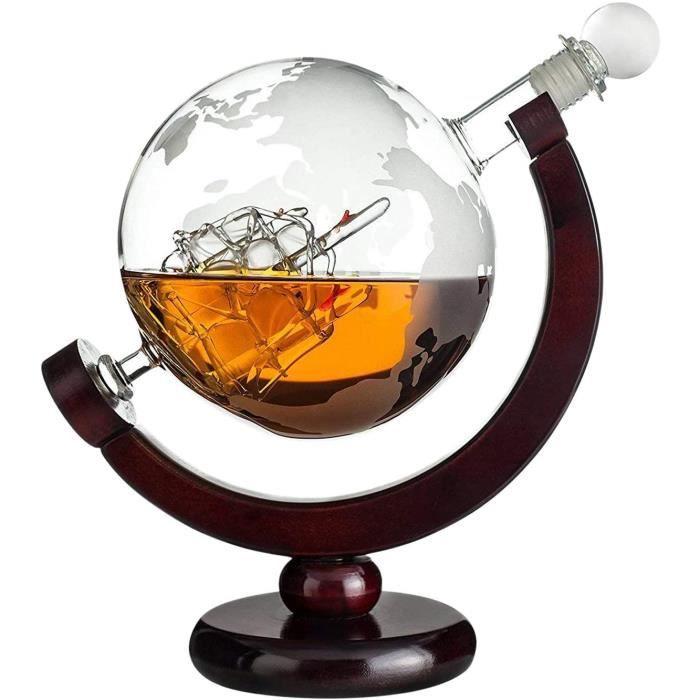Coffret Cadeau avec Bouteille de Whisky en Forme de Globe Terrestre Qualité Supérieure avec Gravure du nom-Carafe en Verre avec Voil