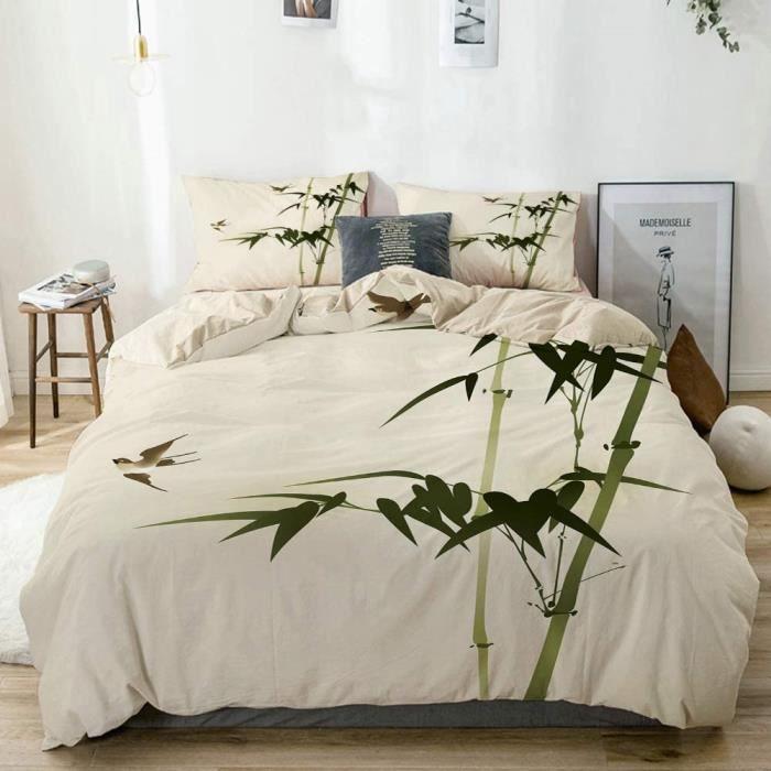 Parure de lit avec Housse de Couette,Arbre Vert Zen Bambou Branches Élégance Orientale Brosse Nature Peinture 140x200cm[94]