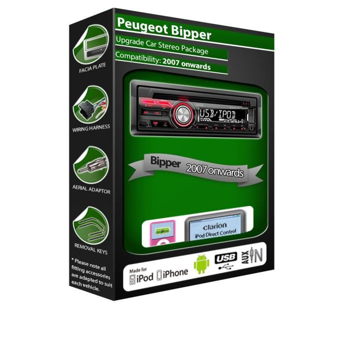 Peugeot Bipper auto radio stereo, Clarion lecteur CD USB iPod iPhone Android