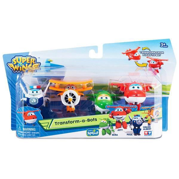 Super Wings - Transformer en robots. Blister 4 caractères.