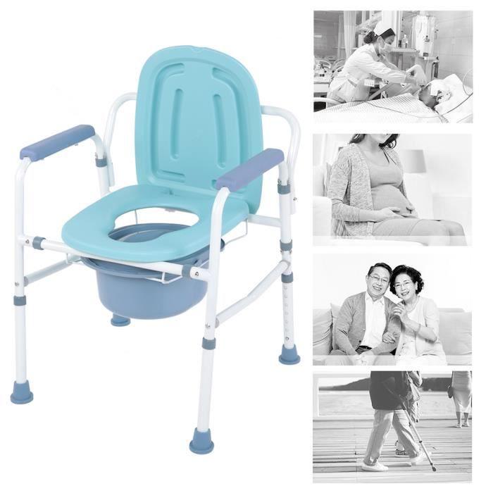 Chaise percée Chaise toilettes Chaise de toilettes Réglable avec bassin Urinal urine Avec couvercle WC Commode Adulte 116103 -COO