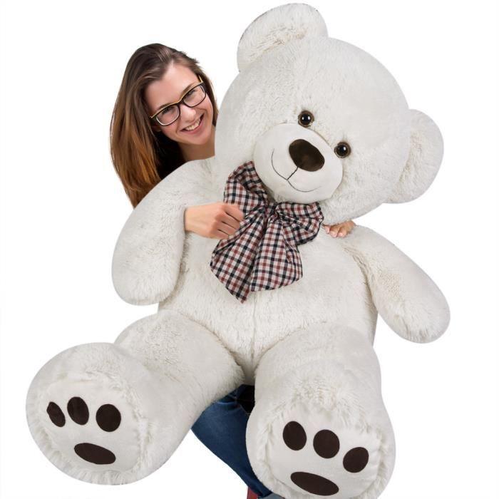 DEUBA- Grand nounours géant XL Teddy Bear - Ours en peluche crème - Enfants/adultes