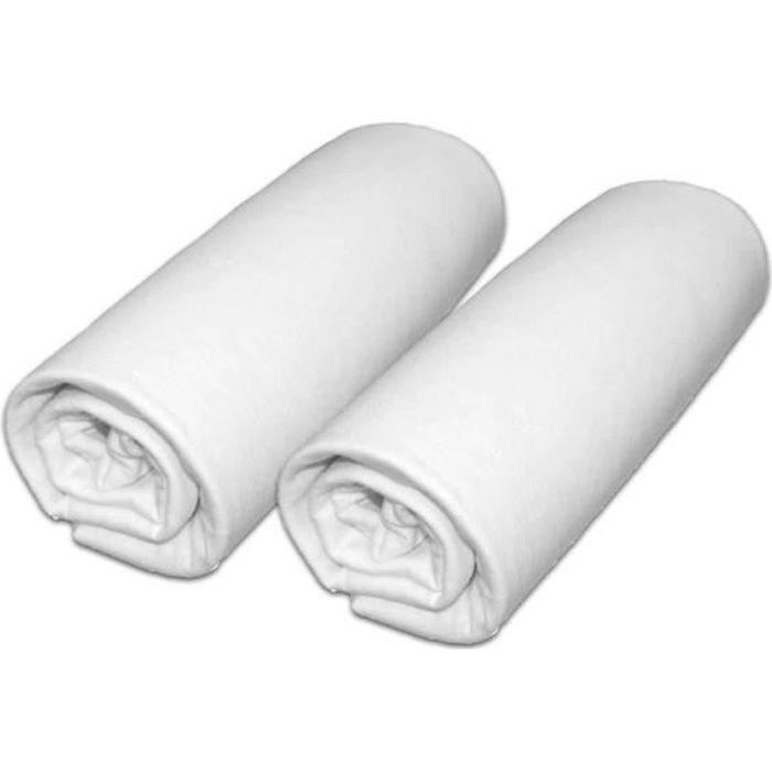 Lot de 2 draps housse pour matelas 70x140cm (lit bébé évolutif) coloris blanc