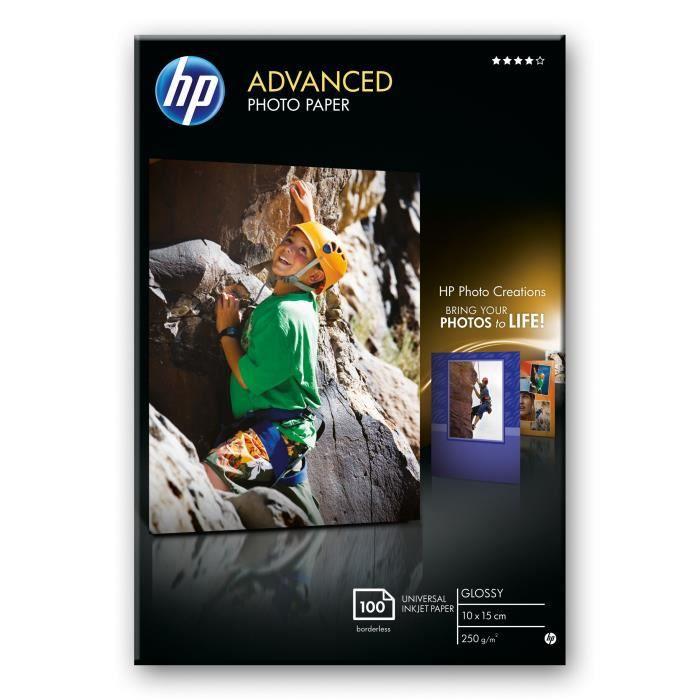 HP Papier brillant sans bordure Advanced (100 feuilles-10 x 15 cm), Gloss, 250 g-m², Noir, Bleu, Blanc, Laser-a jet d'encre