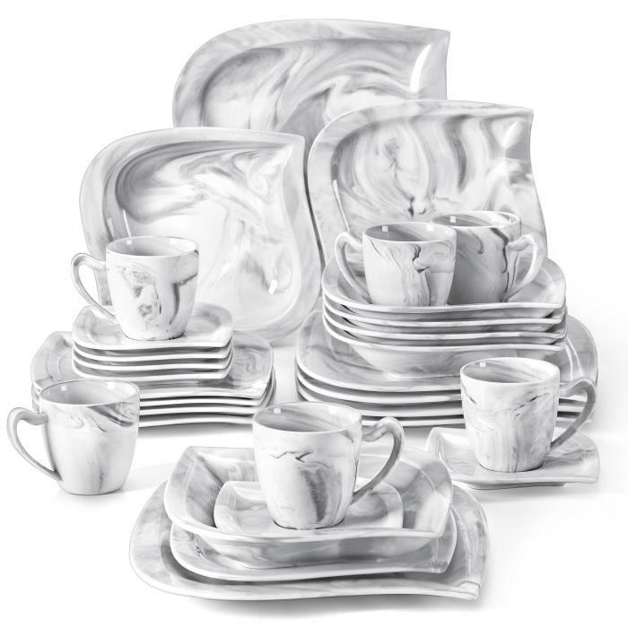 MALACASA, Série ELVIRA, 6 Assiettes Plates, 6 Assiettes à Dessert, 6 Assiette à Soupe, 6 Tasses à Café, 6 sous-Tasses