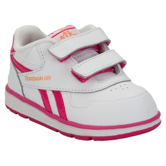 Baskets Reebok Classic Dash Court 2 pour bébé fille en blanc et rose