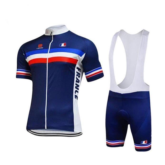 Maillot de Cyclisme Homme Manches Courte Équipe de France Été + Cuissard à Bretelle Vélo GEL Silicone Ensenble de Vêtement
