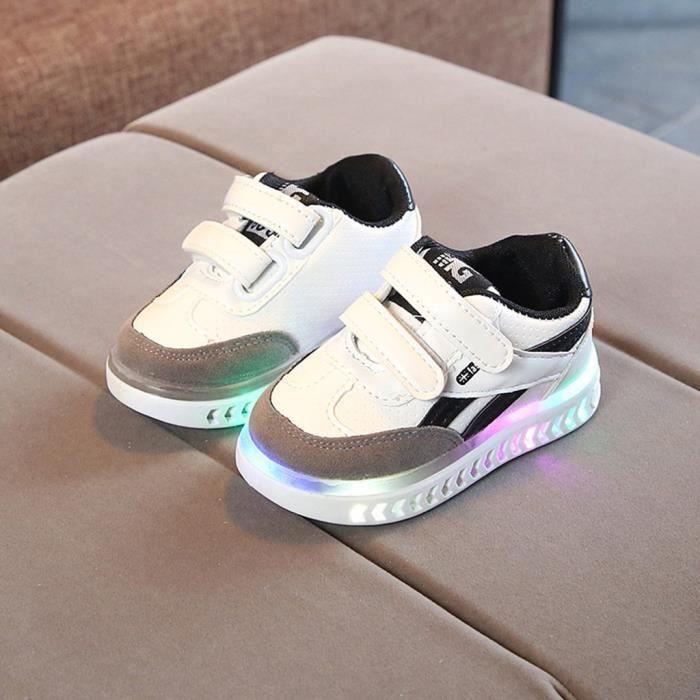 Enfants Bébés Filles Garçons Lettre Led Lumière Lumineuse Running Sport Sneaker Chaussures Blanc