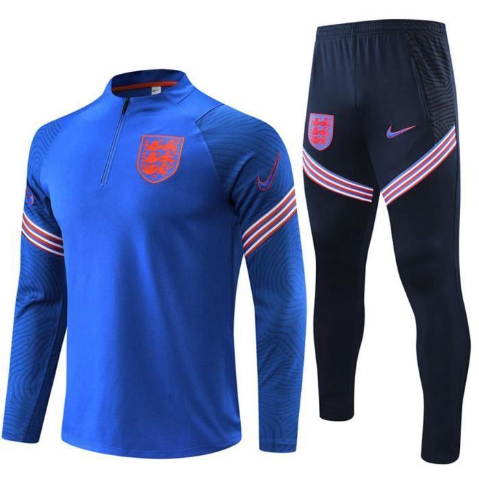 Survêtements Foot Angleterre Homme Enfants 2021 Ensemble Football - Haut et Pantalon - Bleu