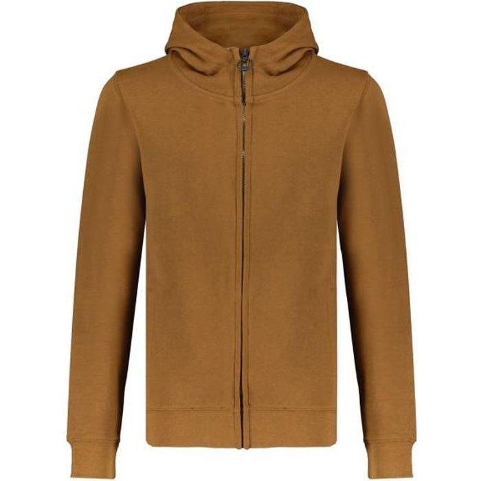 DEELUXE Sweat zippé à capuche en coton bio COOLING Camel